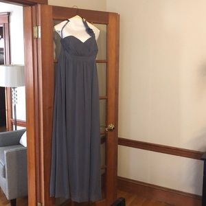 Alfred Angelo grey chiffon one strap long dress